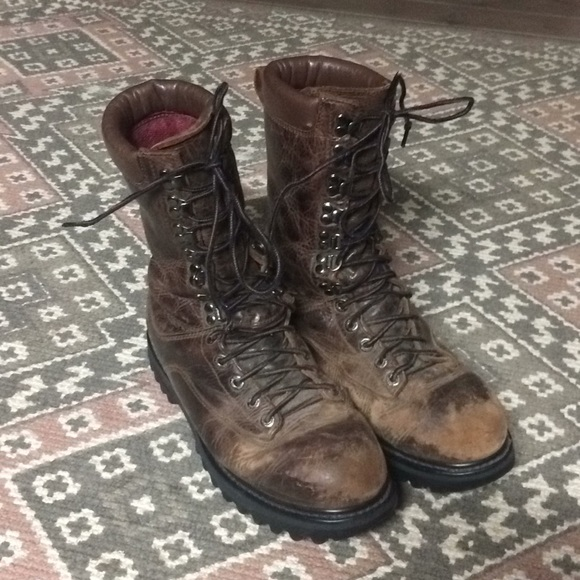 45bc6b42274 Cabelas Tall Leather Steel Toe Work Boots // 10